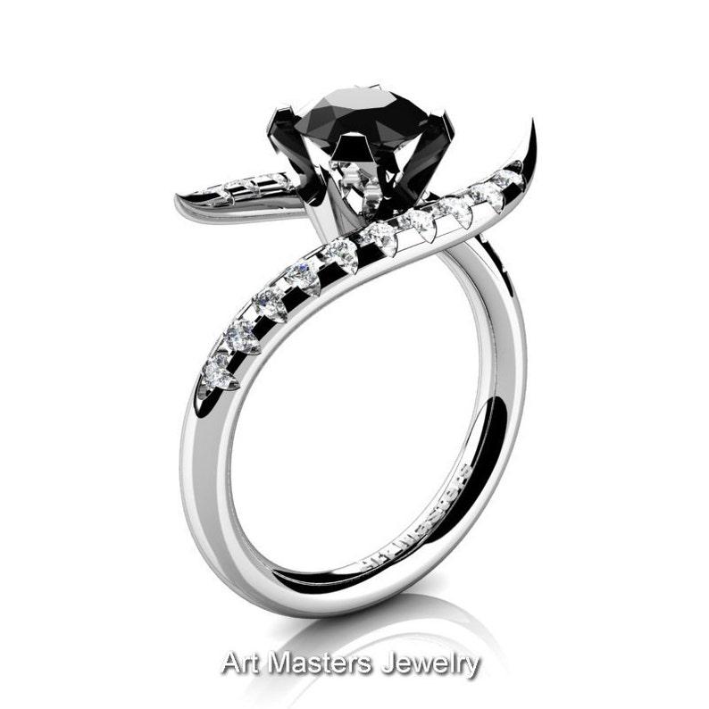 1d8445ca2fda Andromeda 14K oro blanco 10 Ct y negro diamante anillo de