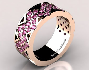Womens Modern 14K Rose Gold Pink Sapphire Wedding Band R805F-14KRGPS