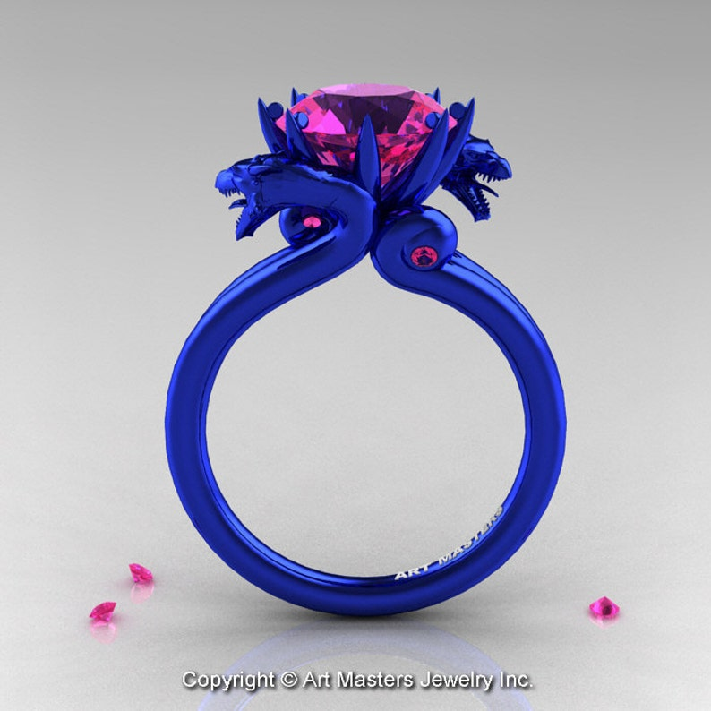 960c7adb4679f Modern Dragon 14K Blue Gold 3.0 Ct Pink Sapphire Designer Engagement Ring  R601-14KBLGPS