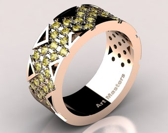 Womens Modern 14K Rose Gold Yellow Sapphire Wedding Band R805F-14KRGYS