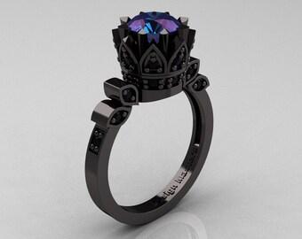 Exclusive Classic Armenian 14K Black Gold 1.0 Alexandrite Black Diamond Bridal Solitaire Ring R405-14KBGBDAL
