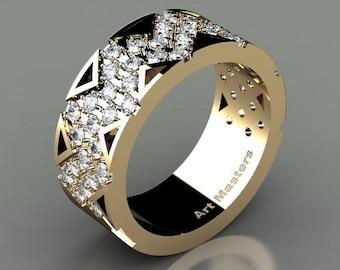 Mens Avant Garde 14K Yellow Gold Diamond Wedding Band R805M-14KYGD