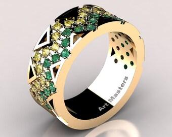 Womens Modern 14K Yellow Gold Emerald Yellow Sapphire Wedding Band R805F-14KYGYSEM