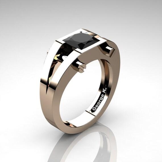 51a2349078a Modern 14K Rose Gold 1.25 Ct Princess Black Diamond Ring