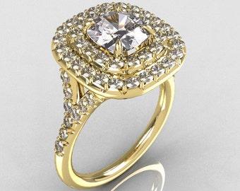 Soleste Style 18K Yellow Gold 1.25 Carat Cushion CZ Bead-Set Diamond Engagement Ring R116-18YGDCZ