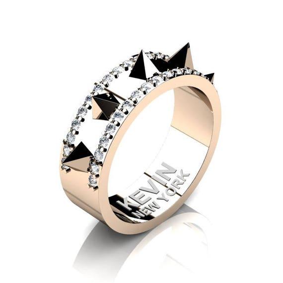 Mens New York 14k Rose Gold Diamond Crown Spike Wedding Band Etsy