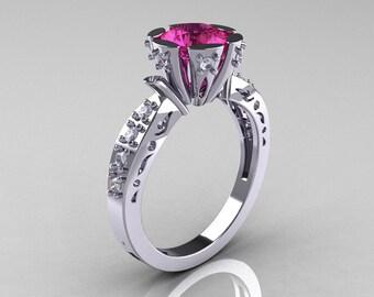 Modern Antique 14K White Gold 1.0 Carat Pink Sapphire Diamond Engagement Ring AR129-14WGDPS