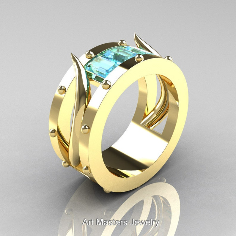 31412bab916e6 Harald Hardrada - Mens 14K Yellow Gold Aquamarine Channel Cluster Wedding  Band R417M-14KYGAQ