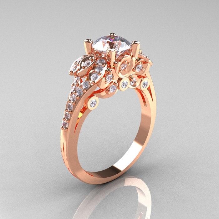 Classic 14K Rose Gold 1.0 CT Cubic Zirconia Diamond Solitaire  5cb194ef2