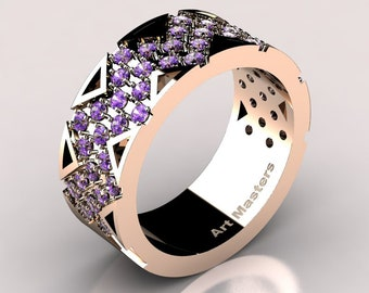 Womens Modern 14K Rose Gold Lavender Amethyst Wedding Band R805F-14KRGAM