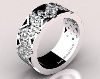 Womens Modern 14K White Gold Diamond Wedding Band R805F-14KWGD