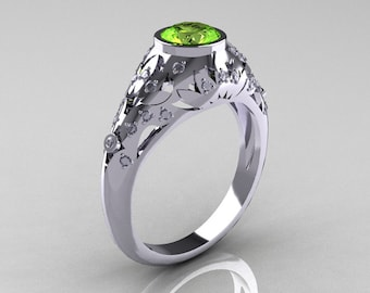 Classic 14K White Gold 0.65 Carat Peridot Diamond Engagement, Wedding Ring R302-14KWGDP