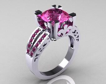 Modern Vintage 14K White Gold 3.0 Carat Pink Sapphire Solitaire Ring R102-14KWGPSS