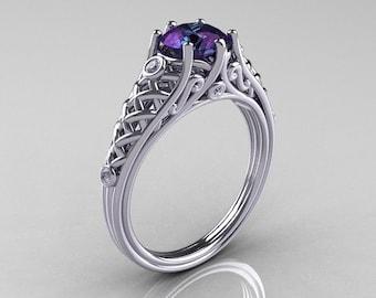 Classic French 18K White Gold 1.0 Carat Alexandrite Diamond Lace Ring R175-18WGDAL