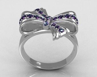 Classic Style 10 Karat White Gold Round Pave Alexandrite Stone Ribbon Ring R92-10KWGAL