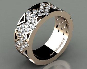 Mens Avant Garde 14K Rose Gold Diamond Wedding Band R805M-14KRGD