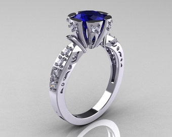 Modern Antique 14K White Gold 1.0 Carat Blue Sapphire Diamond Engagement Ring AR129-14WGDBS