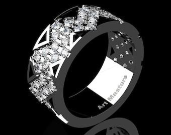 Mens Avant Garde 14K White Gold Diamond Wedding Band R805M-14KWGD