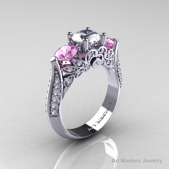Items similar to Classic 14K White Gold Three Stone White and Light Pink Topaz Diamond Solitaire ...
