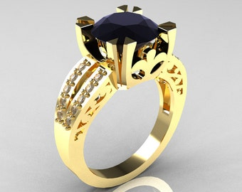 Modern Vintage 14K Yellow Gold 3.0 Carat Black and White Diamond Solitaire Ring R102-14KYGDBD