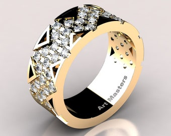 Womens Modern 14K Yellow Gold Diamond Wedding Band R805F-14KYGYD