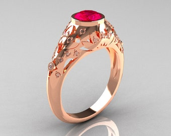 Classic 14K Rose Gold 0.65 Carat Ruby Diamond Engagement, Wedding Ring R302-14KRGDR