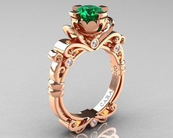 Caravaggio Renaissance 10K Rose Gold 1.0 Ct Emerald Diamond Engagement Ring R615-10KRGDEM