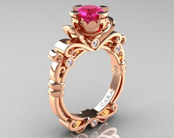 Caravaggio Renaissance 10K Rose Gold 1.0 Ct Pink Sapphire Diamond Engagement Ring R615-10KRGDPS