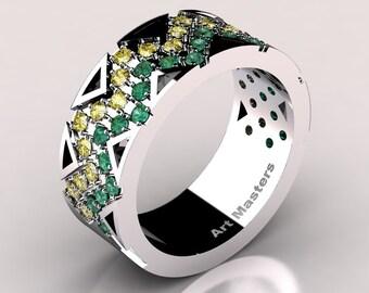Womens Modern 14K White Gold Emerald Yellow Sapphire Wedding Band R805F-14KWGYSEM