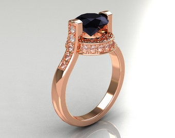 Italian Bridal 14K Pink Gold 1.5 Carat Black and White Diamond Wedding Ring AR119-14PGDBD