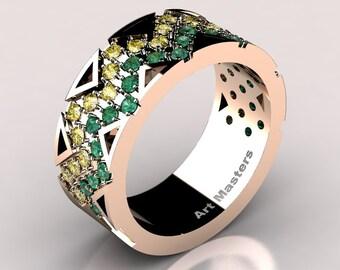 Womens Modern 14K Rose Gold Emerald Yellow Sapphire Wedding Band R805F-14KRGYSEM