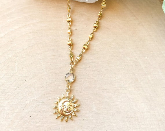 Sun/Moon Charm Pendant Necklace | Celestial Necklace