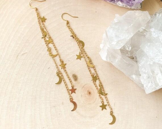 Moon & Stars Dangle Earrings