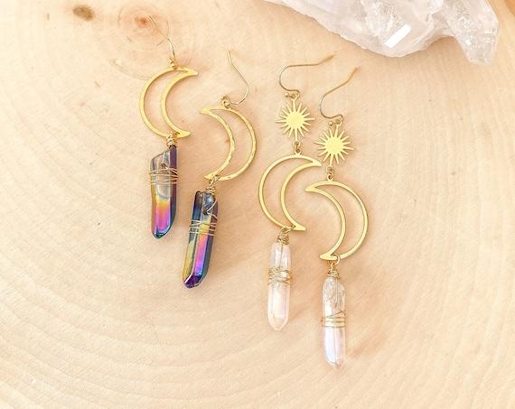 Crescent Moon Crystal Earrings