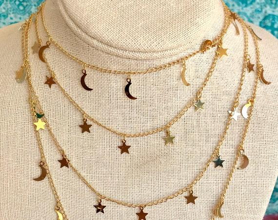 Moons/Stars Single Strand Necklace