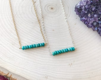 Turquoise Bar Necklace | Simple Necklace | Natural Turquoise | Gold | Silver