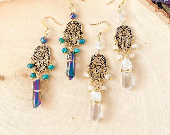Gold Hamsa Hand Earrings