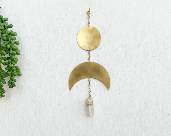 Brass Crescent Wall Hanging with Crystal
