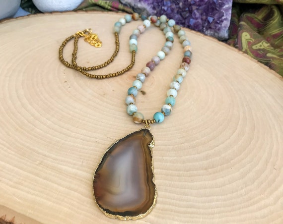 Amazonite & Natural Agate Necklace
