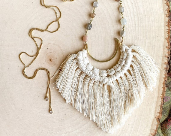 Macrame & Moonstone Necklace