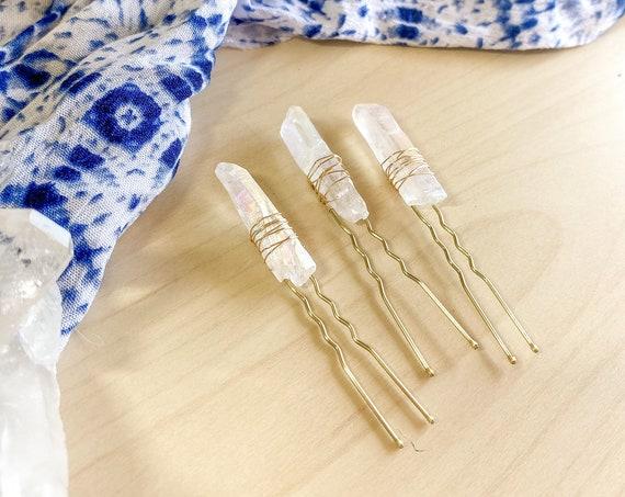 Quartz Crystal Hair Pins