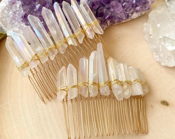 Quartz Crystal Hair Comb