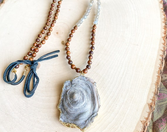 Druzy & Sandalwood Necklace