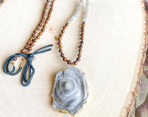 Druzy & Sandalwood Necklace
