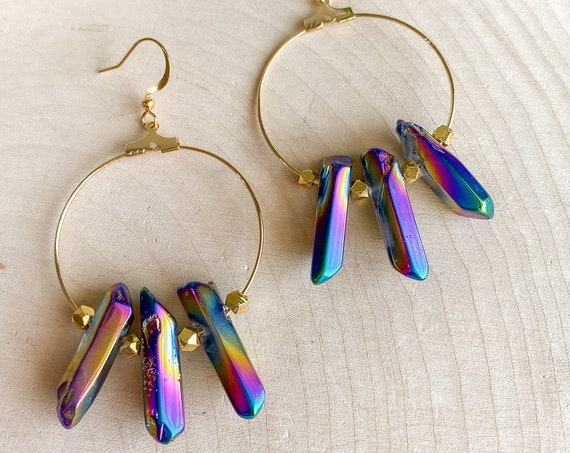 Rainbow Quartz Crystal Hoop Earrings