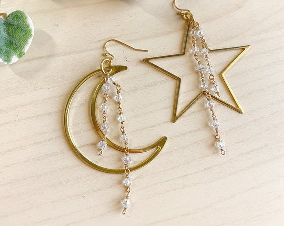 Moon & Star Mismatched Earrings