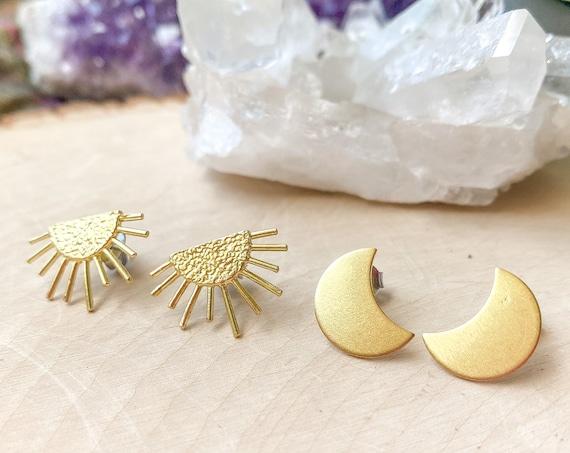 Sun & Moon Stud Earrings | Celestial Stud Earrings | Boho Earrings