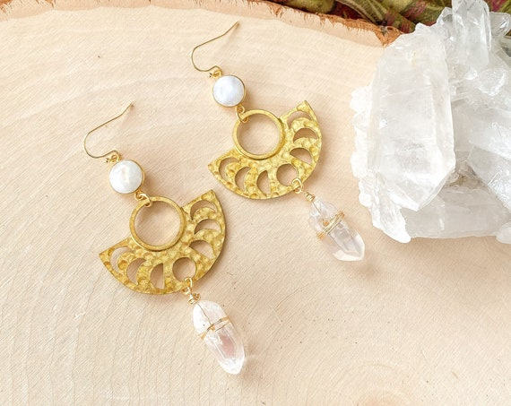 Moon Phase Quartz Crystal Earrings