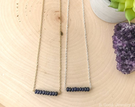 Blue Sapphire Bar Necklace