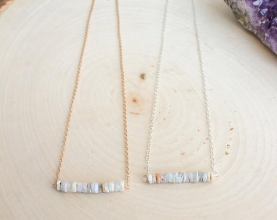 Raw Australian Opal Bar Necklace